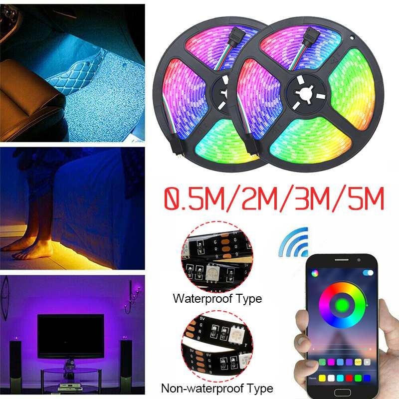 USB LED Strip Light 0.5/2/3/5M RGB Colorful Flexible LED Light Tape Ribbon Bluetooth APP Waterproof TV Background Lighting