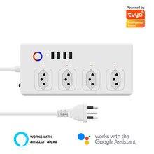 Barre d'alimentation intelligente WiFi brésil, avec 4 prises, 4 Ports usb, rallonge de 1.4m, voix, fonctionne avec Alexa, Google Home