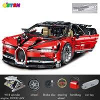 Bugattied Chiron czerwony samochód wyścigowy zestawy 3618 sztuk z 42083 klocki LegoINGlys Technic seria Model Brick Veyron zabawki dla dzieci