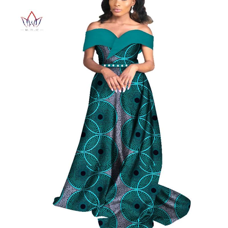 Summer  African Dresses for Women Bazin Off shoulder Party Dress Dashiki  Elegant Long Dress for Female WY4565