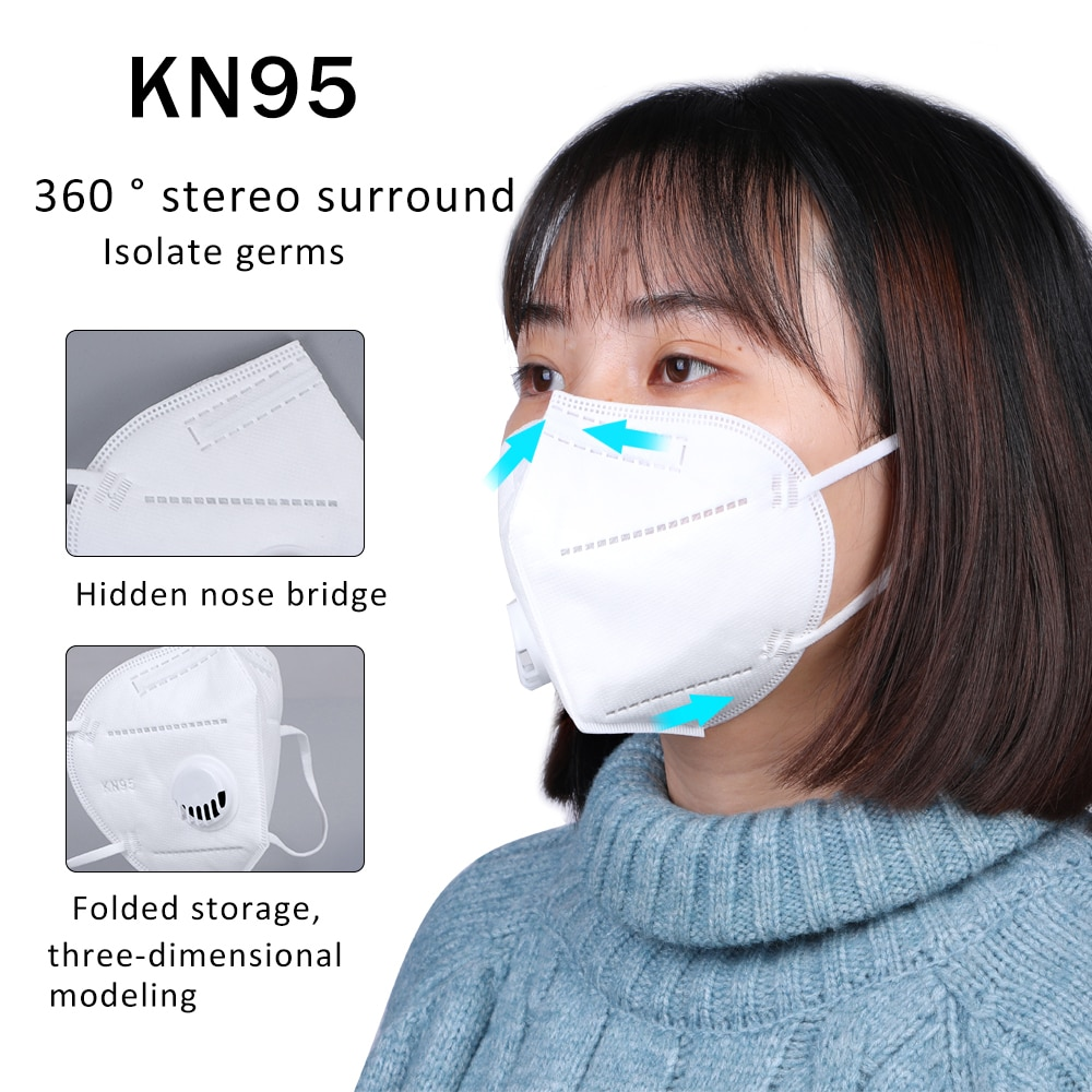 50Pcs KN95 Face Mask Bacteria Proof Anti Dust Masks PM2.5 Dustproof KN95  Mouth Muffle Cover (instock)