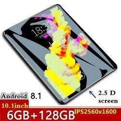 10,1-дюймовый планшетный ПК 2.5D закаленное стекло 4G Телефонный звонок Android 8,0 десять ядер 6 Гб RAM 128 ГБ ROM 8.0MP IPS Wi-Fi карты планшеты ПК