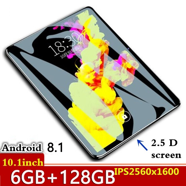 10.1 Inch Tablet PC 2.5D Tempered Glass 4G Phone Call Android 8.0 Ten Core 6GB RAM 128GB ROM 8.0MP IPS Wi-Fi Cards Tablets PC