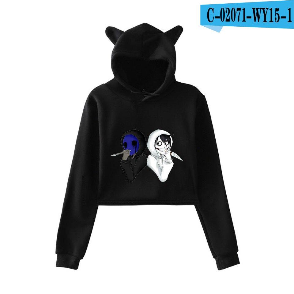 unique horror atmosphere of black humor creepypasta  print fashion trend Cat ears Top Women Hoodies Sweatshirt Sexy clothes 21