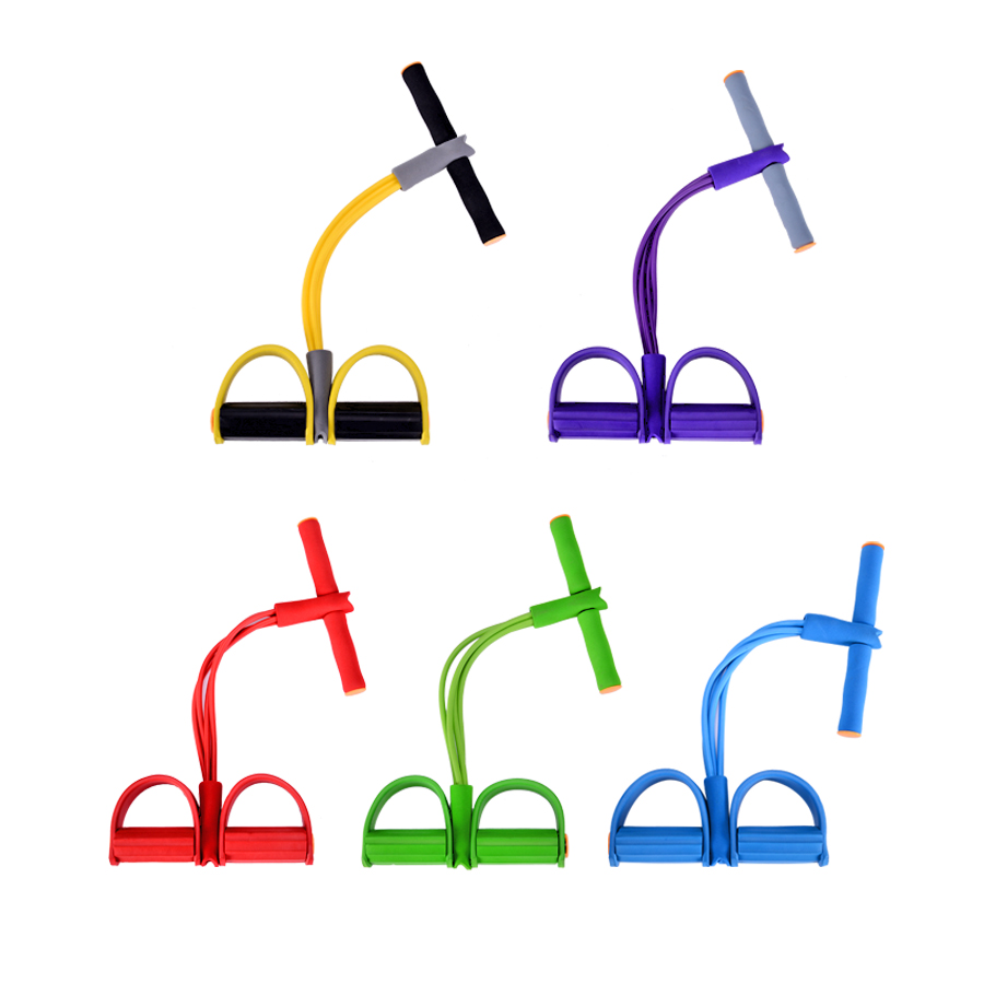 Resistance Bands 4 Tubes Latex Foot Elastic Pull Rope Expander Muscle Fitness Workout Pedal Sports Equipment Fitness Gum Unisex