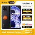 Realme 8 глобальная версия смартфона 64 Гб 128 64-мегапиксельная четырехъядерная камера Helio G95 6,4 ''amoled Экран 5000 мА/ч, Батарея 30 Вт Дротика зарядка NFC