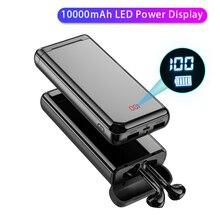 2 ב 1 עם 10000mAh תשלום מקרה כוח בנק אלחוטי Bluetooth אוזניות 3D סטריאו הכפול מיקרופון אלחוטי ספורט Bluetooth אוזניות
