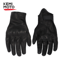 KEMiMOTO Touchscreen Leather Motorcycle Gloves Full Finger Summer Men Cycling Moto Motorbike Protective Gears Motocross Glove