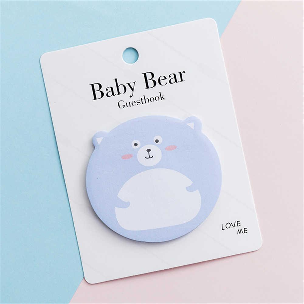 1 חתיכה Kawaii דביק תינוק דוב הערות Creative הודעה פנקס אוגדן תזכיר רפידות ציוד לבית ספר משרד מכתבים
