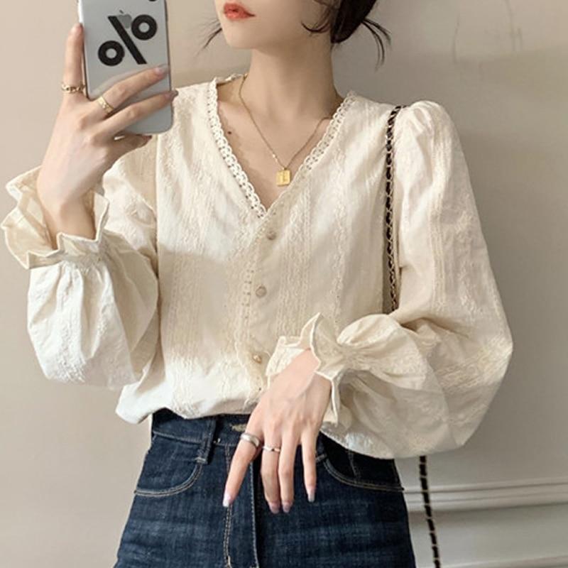 Милые женские топы, новинка, весна-осень, корейская модная ажурная крючком блузка, Повседневная рубашка с длинным рукавом, женская блузка