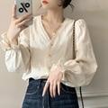 Sweet Women tops New Spring Autumn Korean fashion Hollow out Crochet blouse Casual Long Sleeve Shirt blusa feminina