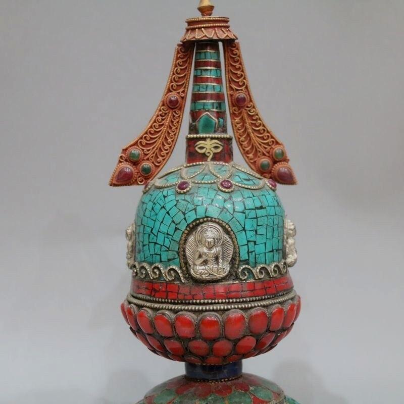 Feito de cobre tibetano com incrustacias de
