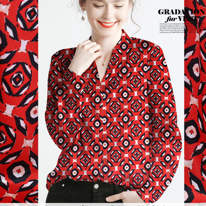 108cm de large en soie stretch satin tissu mètre 19mm marque imprimé tissu de soie satin doux robe chemise tissu en gros tissu de soie