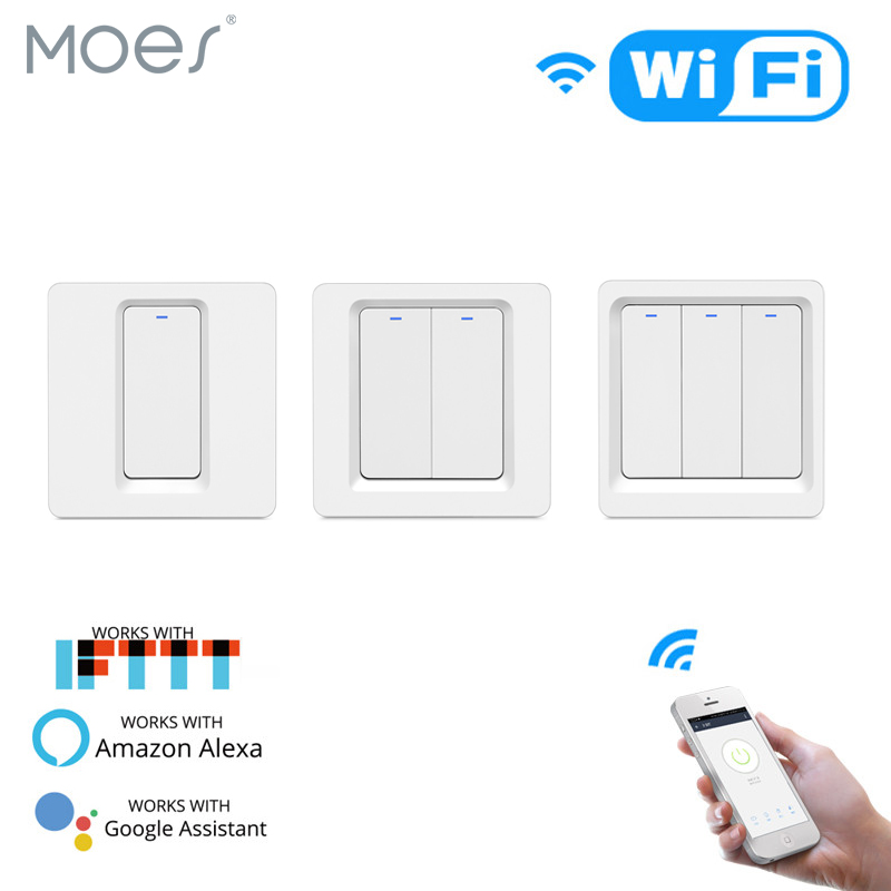 WiFi Smart Light Switch Push Button Smart Life/Tuya APP Remote Control Works With Alexa Google Home For Voice Control
