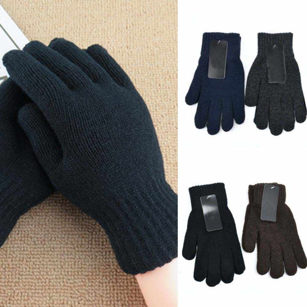 4 Colors Men's gloves Autumn Winter Warm Knitted Wool Monochrome Solid Solor five-finger Gloves
