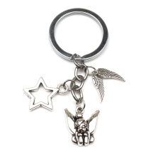 New Fairy Tale Princess Beauty Elf Keychain Dream Lovely Wing Sitting on The Moon Picture Glass Anime Key Chain Ornaments
