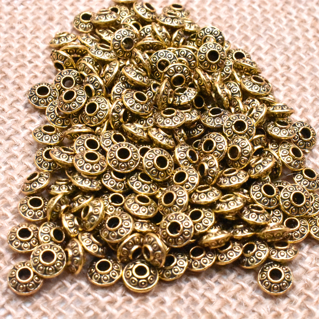 Yanqi 50pcs 6mm Tibetan Antique Metal Gold Silver Oval UFO Beads Loose Spacer Beads for Jewelry Making DIY Charms Bracelet 6