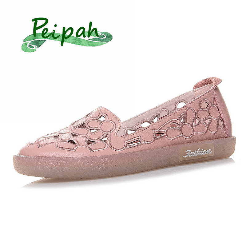 PEIPAH Retro Hallow Out Genuine Leather Shoes Woman Slip On Ballet Flats Female Casual Solid Loafers Ladies Footwear Sweet Shoes