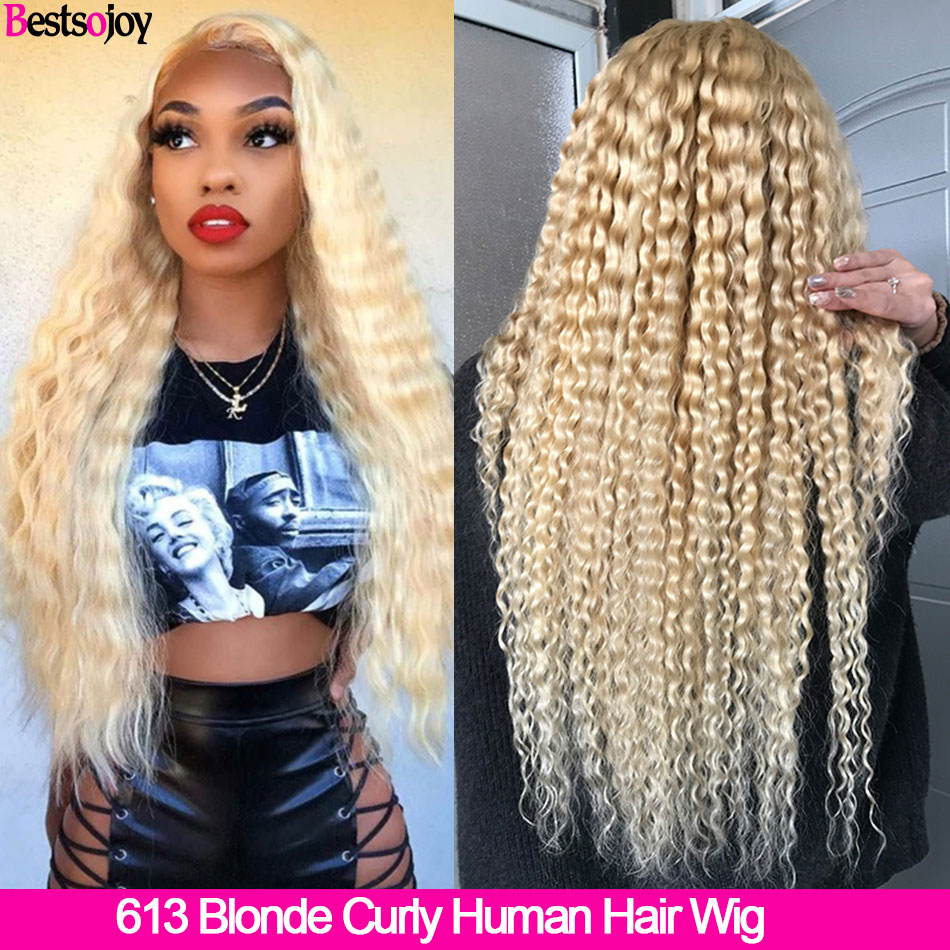 Bestsojoy 613 Blonde Curly Human Hair Wigs 360 Lace Frontal Wig Mongolian Remy 13x6 Lace Front Wigs For Black Women Middle Ratio