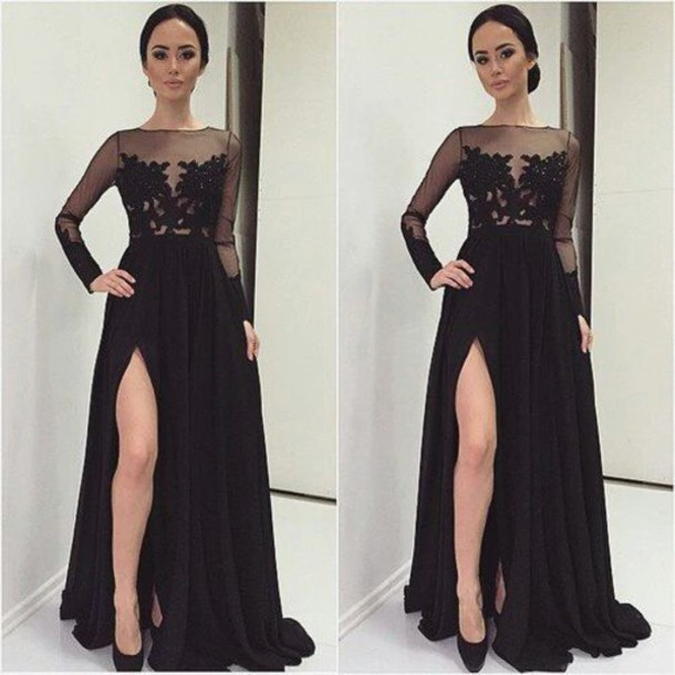 Winter Formal Elegant Long Sleeve Applique Lace Split Sexy Guest Party Evening Gown robe de soiree mother of the bride dresses