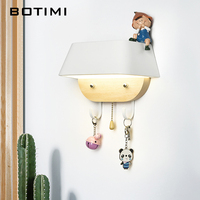 BOTIMI Home Decor 220V LED Wall Light For Bedroom Hotel Metal Lampshade Wall Scone Wall Mounted Children Rooms Bedside Lamp