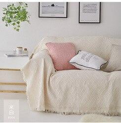 Solidna narzuta na sofę bawełniana Sofa poliestrowa narzuta na sofę s do salonu beżowy szary różowy niebieski Sofa ręcznik luksusowy koc Tassel narzuta na sofę