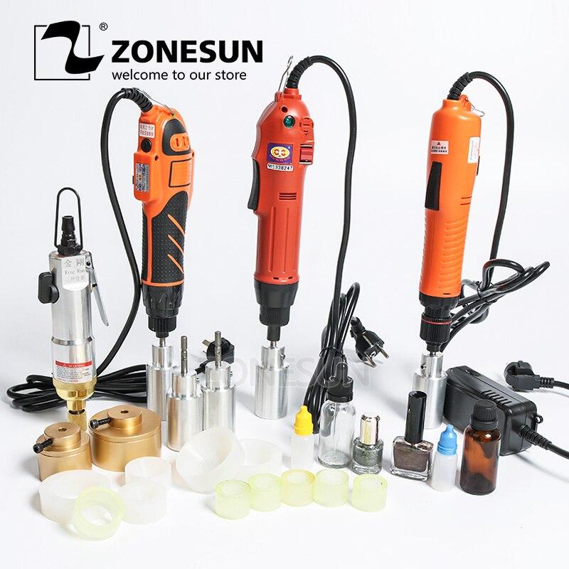 ZONESUN opcjonalnie wymieszać ograniczenie maszyny przenośne elektryczne z pierścieniem bezpieczeństwa alkoholu dezynfekcji butelki Capper wkręcania