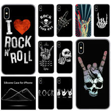 luxury Soft Silicone Phone Case Rock roll skull for Apple iPhone 11 Pro XS Max X XR 6 6S 7 8 Plus 5 5S SE Fashion Cover(China)