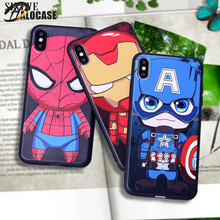 цены Cute Cartoon Spiderman Superman Ironman Marvel  Heros Case For iPhone XS MAX X XR XS iPhone 7 8 6S 6 Plus Silicone Phone Cover