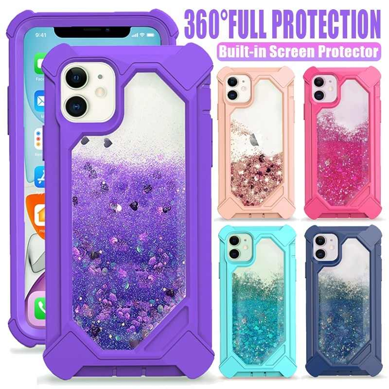 360 Pasir Hisap 3D Glitter Bling Cair Hibrida Case PENUTUP UNTUK iPhone 11/ 11 Pro/ 11 Pro Max/ X/ X/XR/XS Max/ 8/ 7/ 6/ 6S PLUS