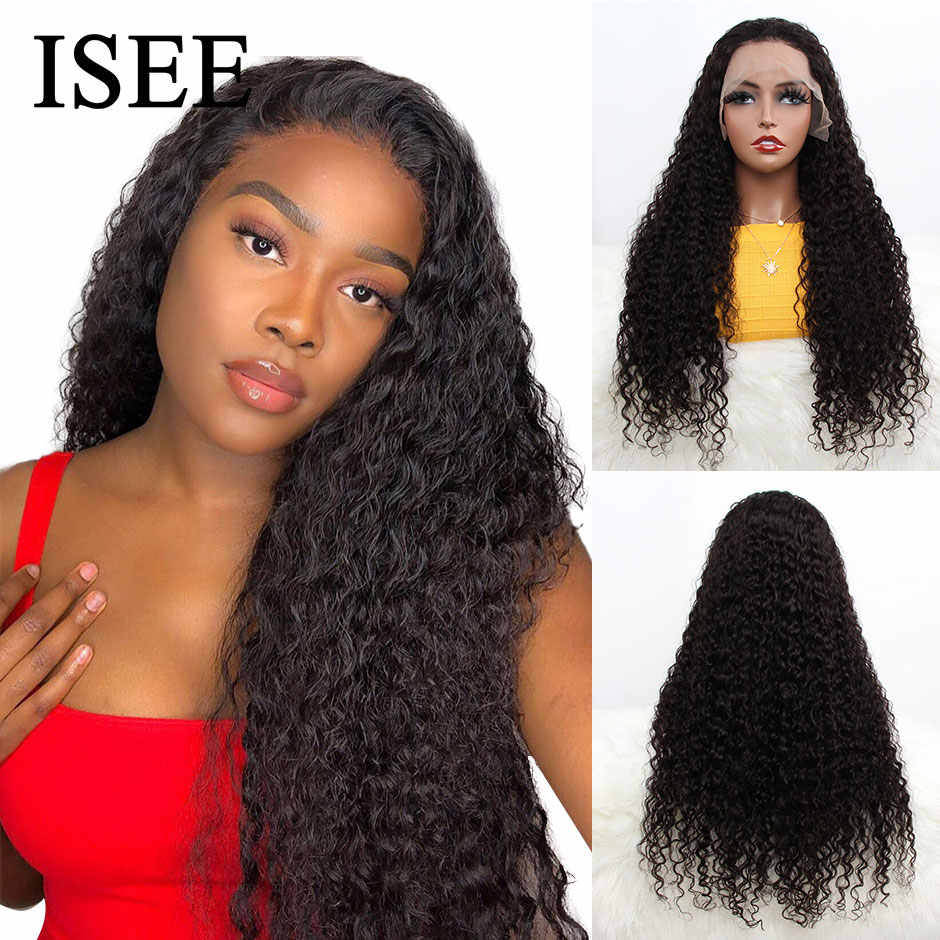Water Wave Human Hair Wigs For Women ISEE HAIR Lace Front Wigs 150% Density Remy Malaysian Water Wave Lace Front Human Hair Wigs