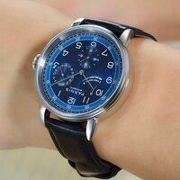 Fashion Parnis 42mm Blue Dial Automatic Mechanical Men's Watch Silver Case Calendar Men Watches reloj automatico de hombre Clock