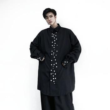 Men Long Sleve Button Design Loose Casual Black Long Shirt Male Japan Streetwear Hip Hop Punk Gothic Dress Shirt Stage Clothes