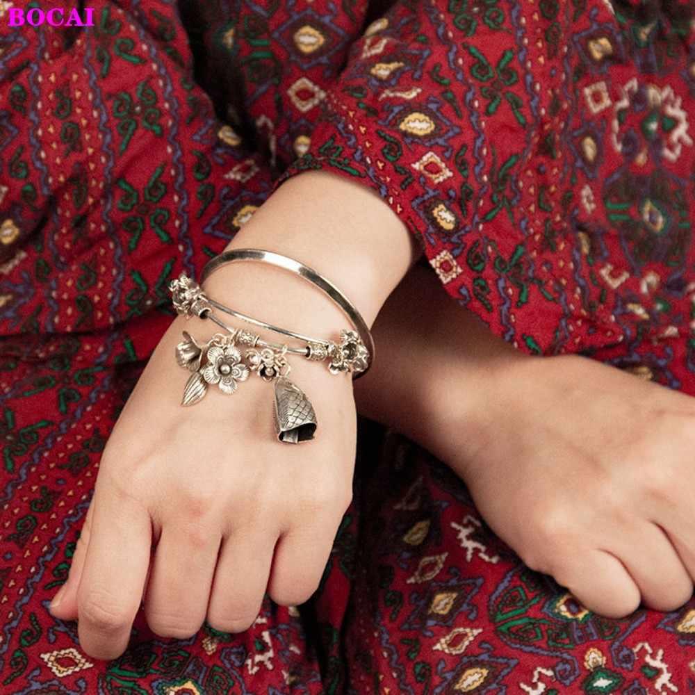 S925 فضة المرأة سوار يدوية التايلاندية الفضة سوار الأسماك البقر جرس زهرة سلسلة للقدم خلخال 2020 جديد مجوهرات الأزياء