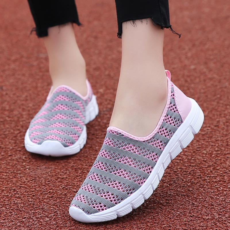 Summer Soft Sporty Woman Sneakers Women's Sport Shoes Womens Running Shoes Women Sports Shoes 2020 Pink Slip On Walk Gray E-334