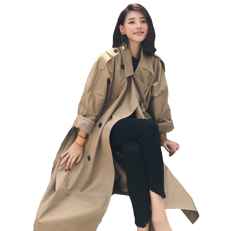 Long   Trench   Coat Women Overcoat 2019 Autumn New High quality With Belt Double-breasted Windbreaker Loose Plus Size Ladies Coats