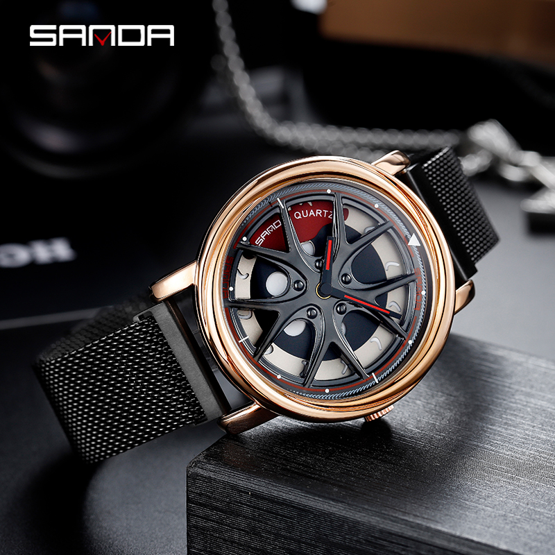 Image 3 - Sanda 2020 venda quente relógio masculino à prova dwaterproof água rotativa dial roda relógios ímã fecho de quartzo relógio pulso presentes relogio masculino 1025Relógios de quartzo   -
