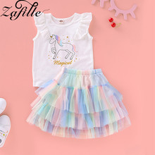 ZAFILLE Summer Girls Clothes 2Pcs Sets Unicorn Outfits Baby Bodysuit Cotton Clothing kids clothes Sleeveless Skirt
