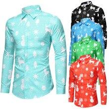 JAYCOSIN Для мужчин Повседневное снежинки Рождественская, Печать оленей Рождественская рубашка блуза Топ Повседневное Цвета Мужской платье в цветочном принте, в партии;#45
