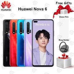 Оригинальный Huawei Nova 6 5G мобильный телефон 6,57 дюймов полный экран 8 ГБ + 128 ГБ Kirin 990 Octa-core Android 10 40MP AI камеры смартфона