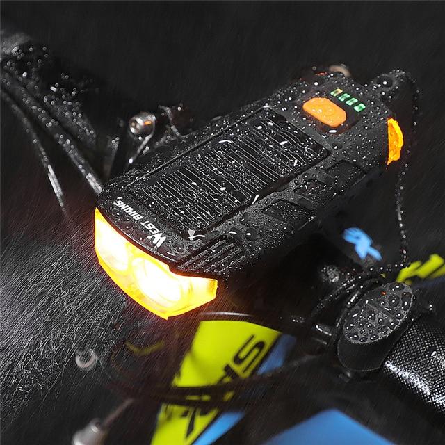 Светодиодный водонепроницаемый велофонарь с зарядкой через USB, 120 дБ Предупреждение WEST BIKING, 2000 мАч 3