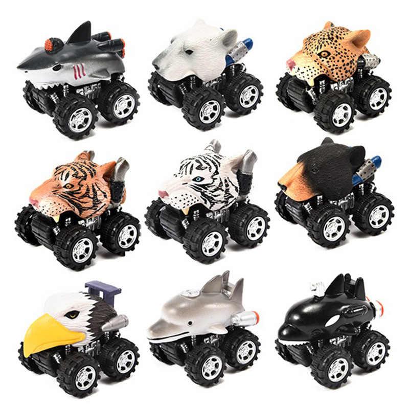 Quente-mini veículo animal puxar para trás carros com roda de pneu grande presentes criativos para crianças estilo animal modelo de carro mini carro de brinquedo