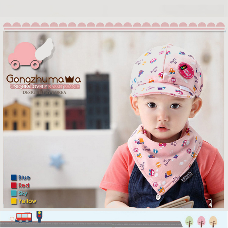 Princess Mother Korean Children's Hat Spring Boy Triangle Towel 2 Piece Set Summer Baseball Cap Baby Hat
