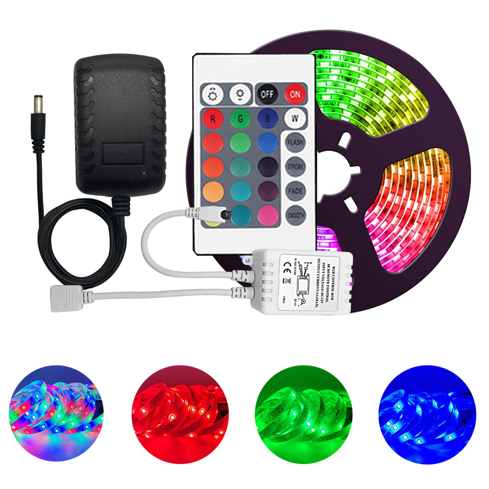 Led Strip Lights 2835 Multi-Color Kit  IP65 Waterproof Flexible RGB 300leds with 24 Key Remote DC 12V Power Supply for Indoor