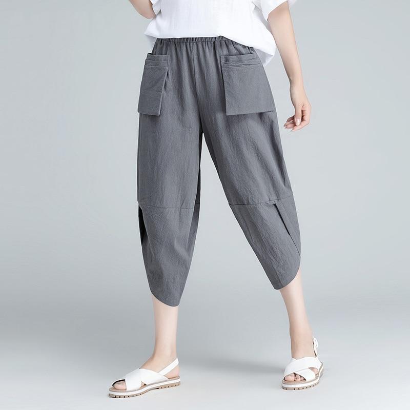 2019 New Style Cotton Linen Capri Pants Women's Loose And Plus-sized Artistic Radish Harem Pants Women's