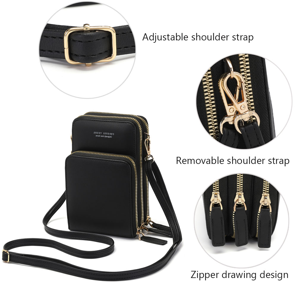 Drop Shipping Crossbody Cellphone Purse Women Touch Screen Bag RFID Blocking Wallet Shoulder Handbag 3