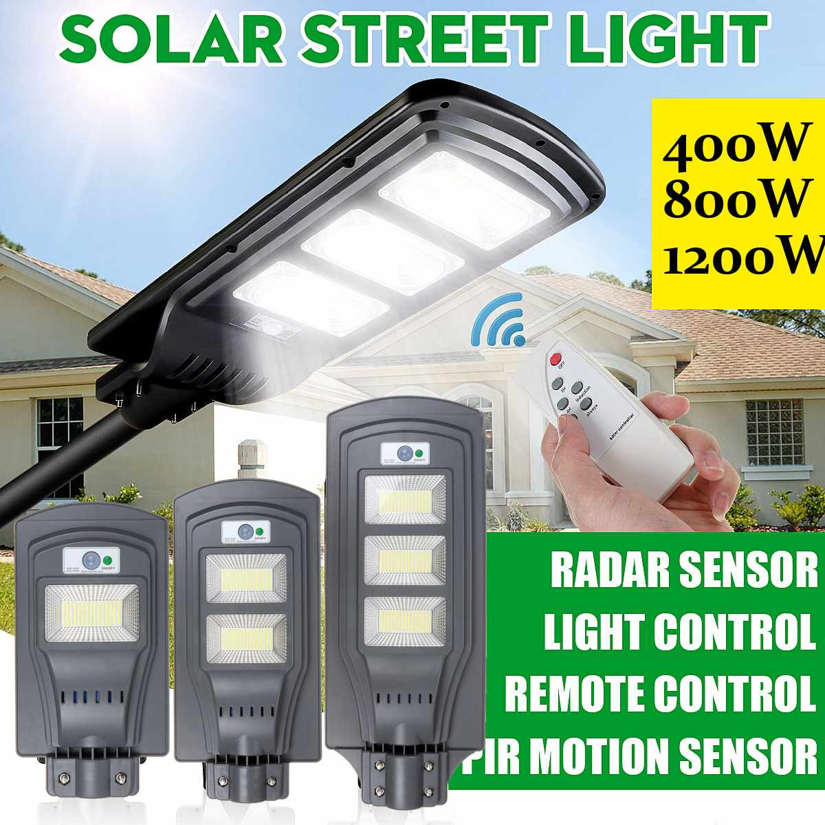 400W 800W 1200W LED Solar Street Light Remote Control PIR Motion Sensor Waterproof IP65 Outdoor Lighting Garden Road Wall Lamp