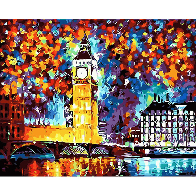 London City Scape Painting By Numbers Kit Big Ben Impressionism Rive Thames