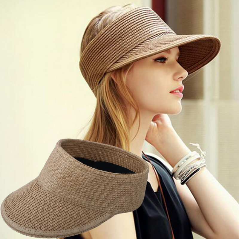 New Simple Summer Straw Sun Hat Women Backable Sun Visor Hat With Big Heads Wide Brim UV Protection Female Cap