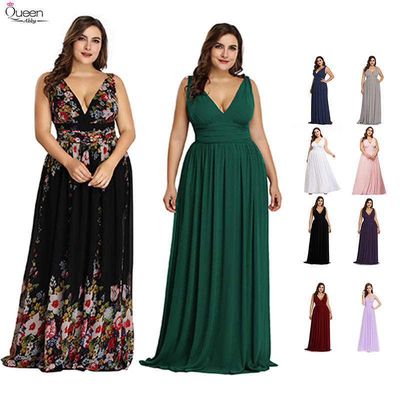 Plus Size Chiffon Bridesmaide Dresses Long Elegant Queen Abby A-Line V-neck Sleeveless Printed Wedding Party Gowns Robe De Soire